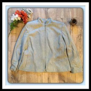 Jones New York Zippered Jacket, Size 16W,  Lt.Blue